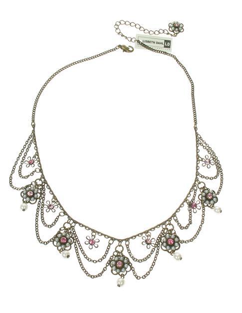 Lisbeth Dahl Pearl Flowers Necklace - Vintage Gold/Pink