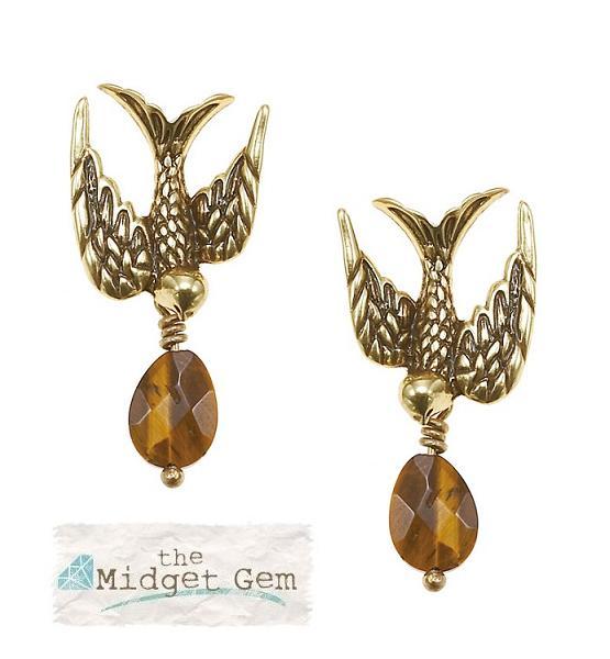 The Bohm Cluster Allure Bird Earrings Gold/Tiger-Eye