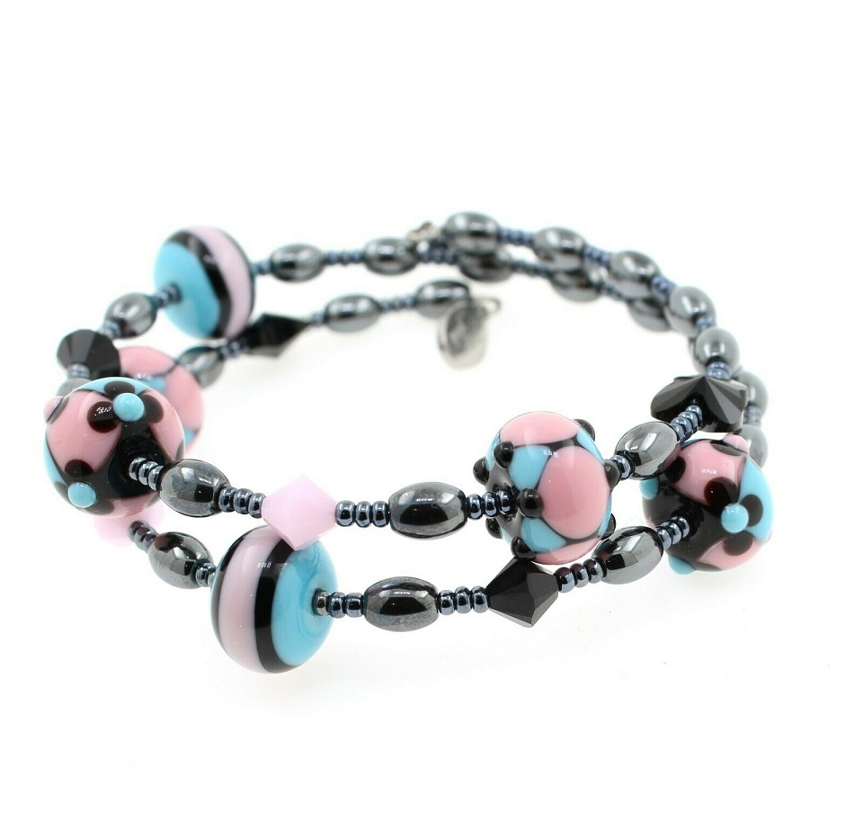 Pink, Black & Turquoise - 2 Loop LIMITED EDITION #2 - Lamp-work Glass & Haematite Wrap Bracelet