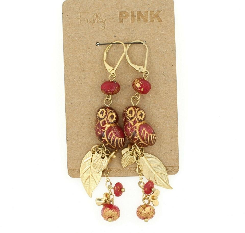 Raspberry Red Glass Owl Earrings - Raspberry/9ct. Gold Plate BNWT