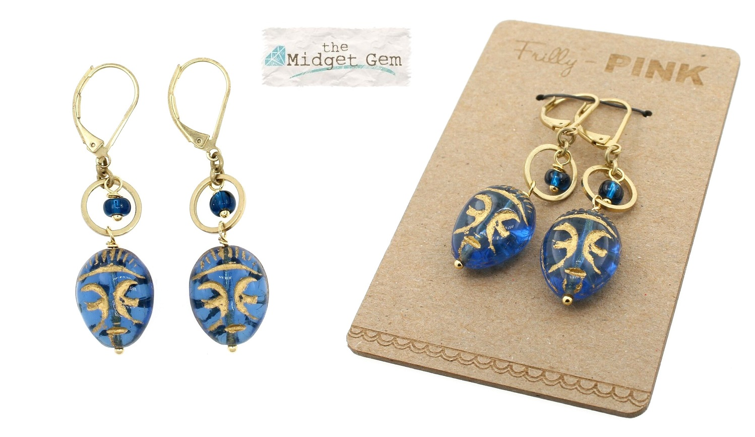 Artisan Czech Glass Mask Earrings - Zircon Blue/Gold BNWT