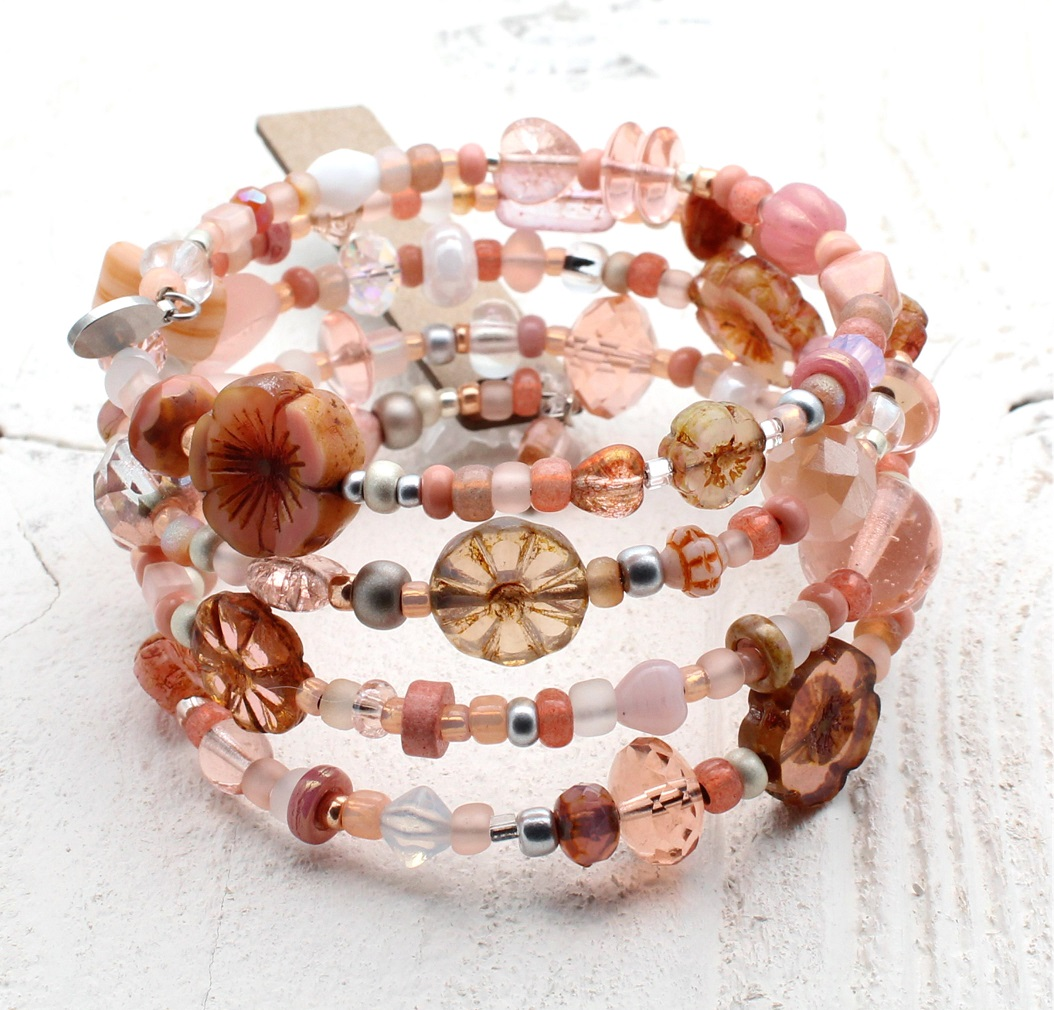 Dusty Pink, Peach & Opal Glass Bead Mix - 4 Loop Wrap Bracelet