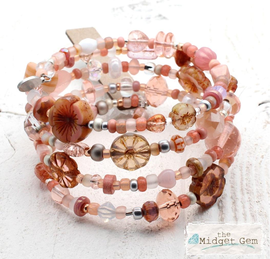 Dusty Pink, Peach & Opal Glass Bead Mix - 4 Loop Wrap Bracelet