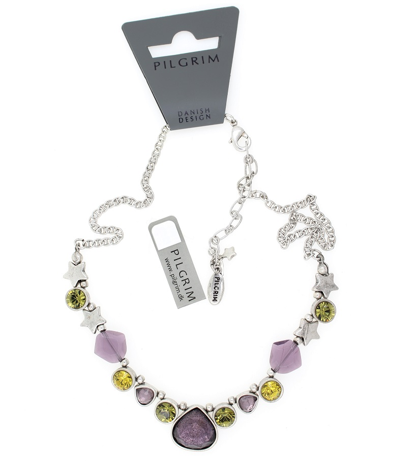 PILGRIM Stardust Necklace Oxidised Silver Purple Olivine BNWT
