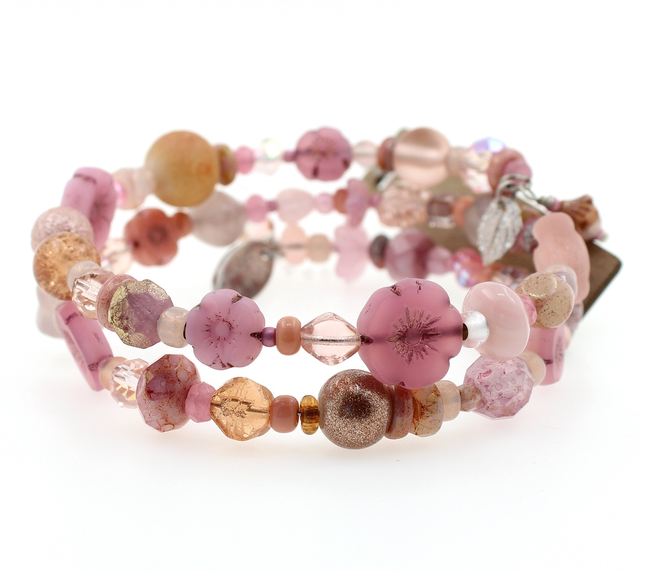 Shades of Pink Glass Bead Mixture Double Loop Wrap Bracelet