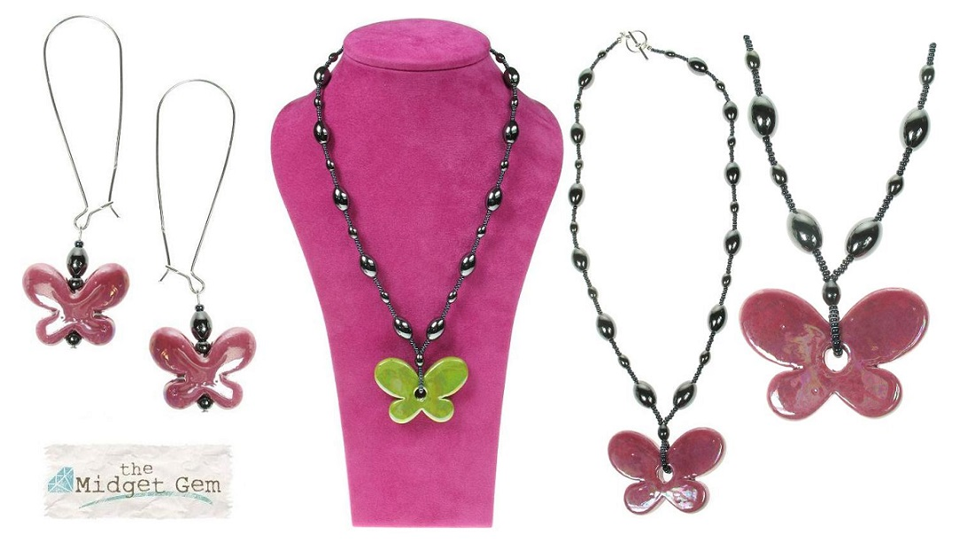 Ceramic Butterfly Necklace & Earrings  - Pink & Heamatite