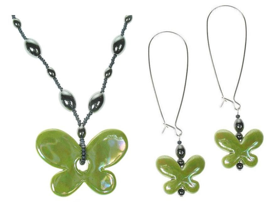 Ceramic Butterfly Necklace & Earrings  - Green & Haematite