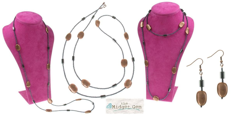 Metallic Copper 'Ovals' Long Necklace& Earrings