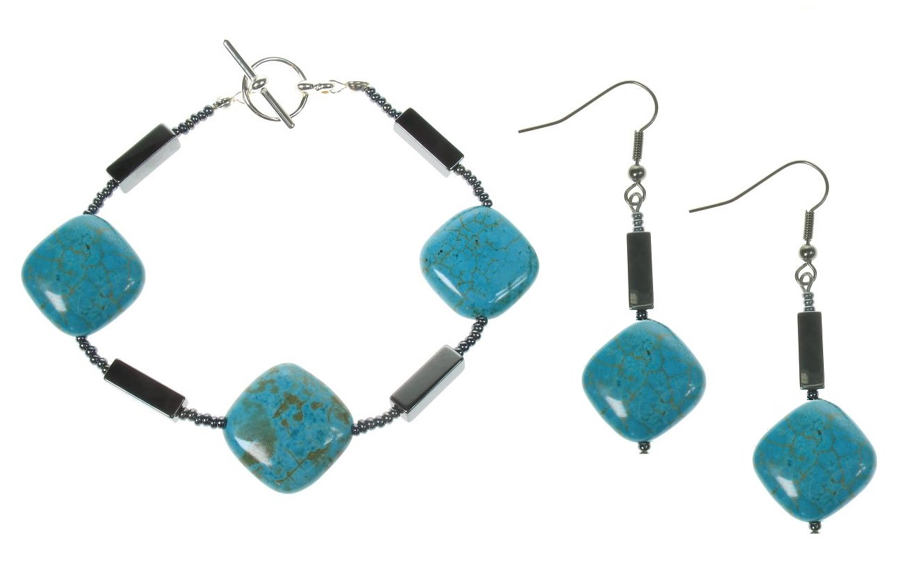 Turquoise Squares & Haematite Beads Bracelet & Earrings
