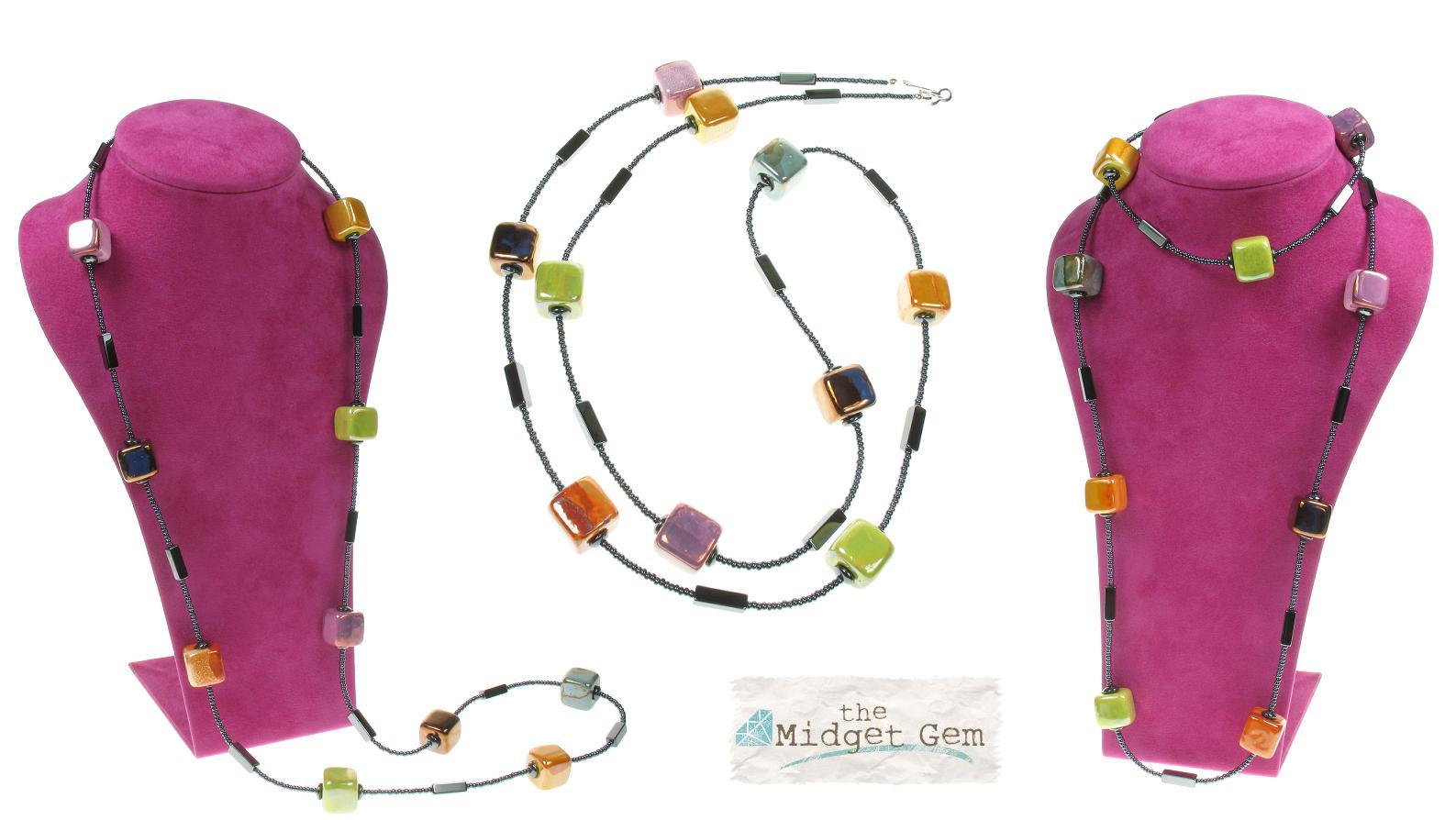 Ceramic Cubes & Haematite Beads Long Necklace