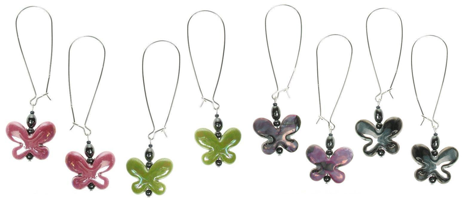 PINK Ceramic Butterfly Earrings