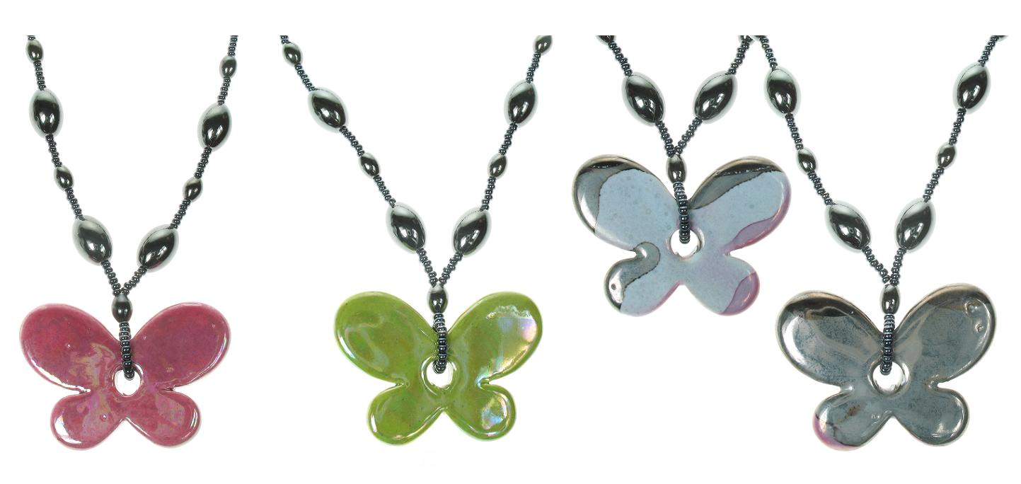 PINK Ceramic Butterfly Necklace