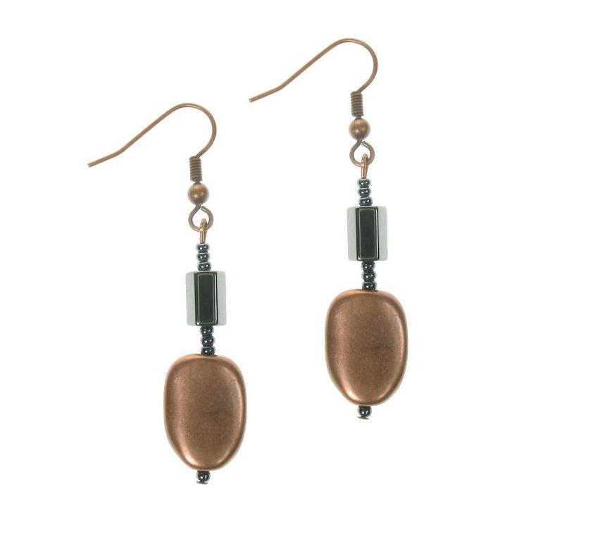 PINK Metallic Copper 'Ovals' Earrings