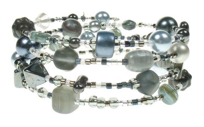 PINK Grey 'Jazz' Memory Wire Wrap Bracelet