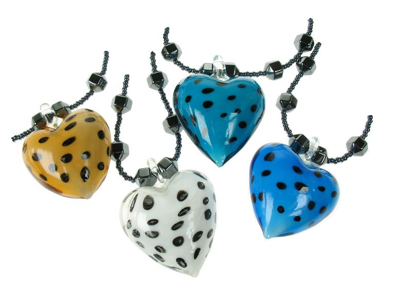 PINK Hematite & Polka Dot Glass Heart Necklace