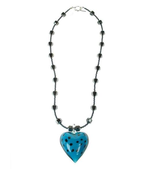 PINK Glass Heart & Hematite Necklaces