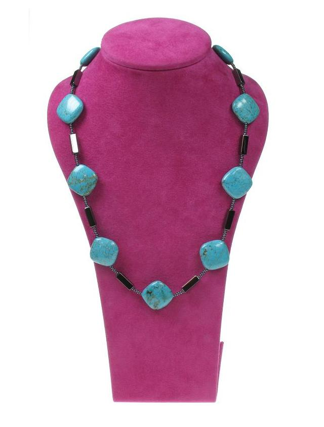 PINK Turquoise Squares Necklace