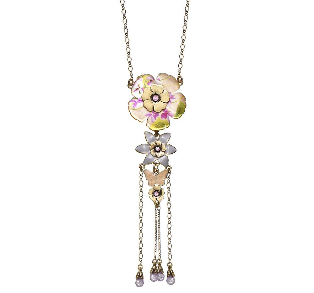 PILGRIM - Pearly Petals - Pendant Necklace - Peach/Gold Plate BNWT