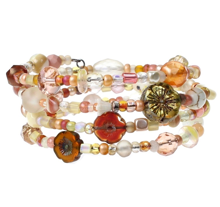 Pale Yellow & Orange Glass Bead Mix - 4 Loop Wrap Bracelet