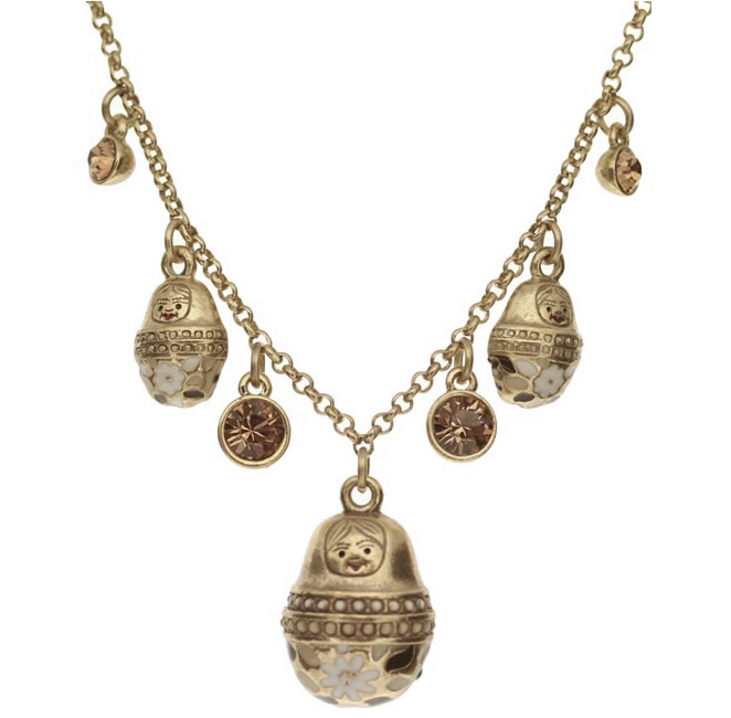 PILGRIM Necklace Matryoshka Russian Doll Vintage Gold Cream Brown Swarovski BNWT