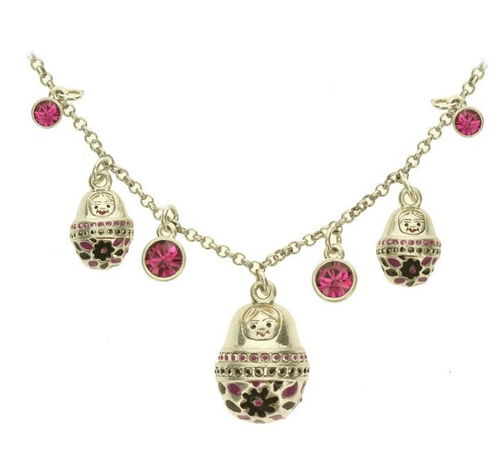 PILGRIM Russian Doll Necklace Matryoshka BABUSHKA BLOOM Silver & Mauve Navy BNWT
