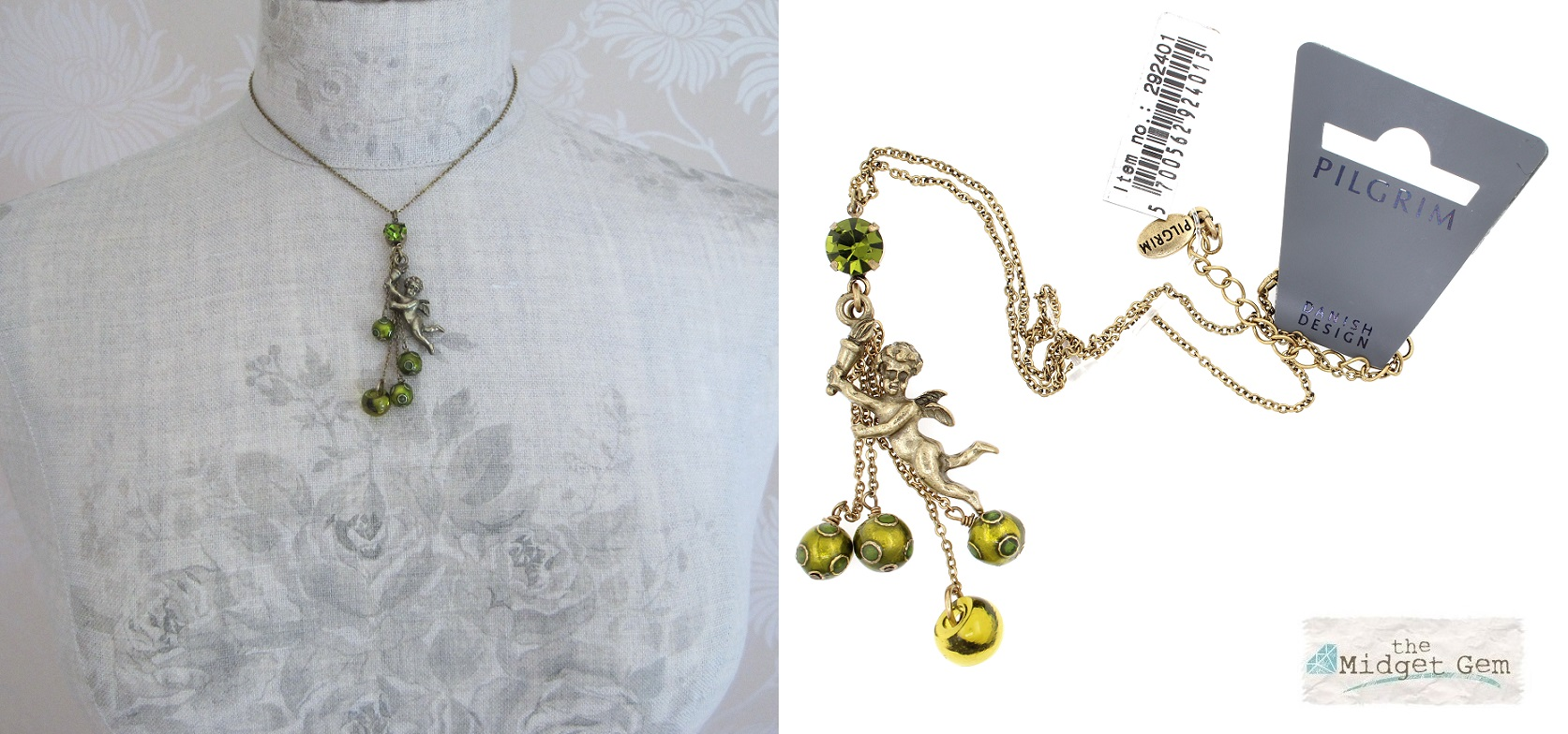 Pilgrim Cherub Charm Necklace Antique Gold Olivine Green BNWT