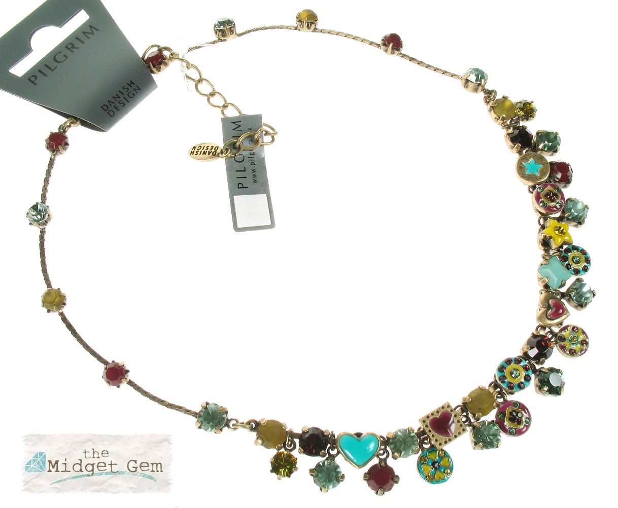 Pilgrim Necklace - VICTORIAN PROMISES - Oxidised Gold Plate, Turquoise, Yellow & Raspberry BNWT