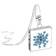 Blue Gypsophila Flower Square Pendant & Chain - Sterling 925 Silver