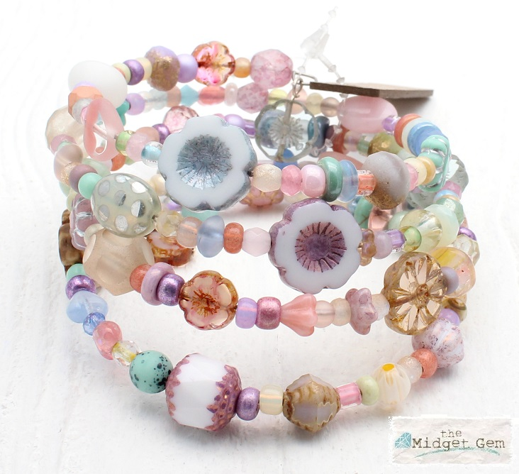 Pastel Sorbet Glass Bead Mix - 4 Loop Wrap Bracelet