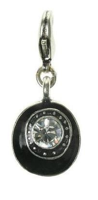 A & C - Black Disc & Crystal Clasp-On Charm Silver Plate