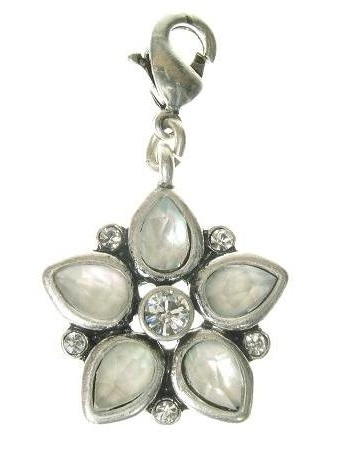 A & C - Aurora Borealis Crystal Petals Flower Clasp-On Charm Silver Plate
