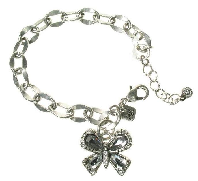 A & C Sweet Butterfly Adjustable Bracelet Silver Grey