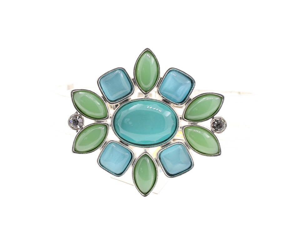 BOHM - Glass Petals Hinged Bangle - Oxidised Silver/Aqua BNWT