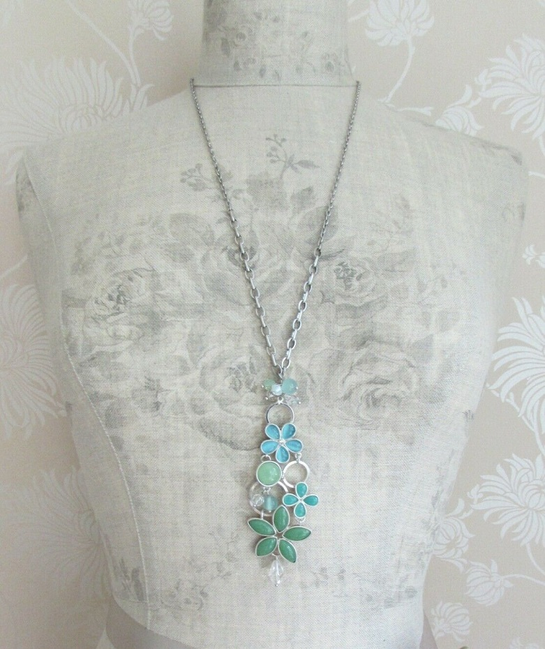 BOHM - Adjustable Long Flowery Necklace - Silver/Pearl Aqua Blue Glass Cabochon BNWT