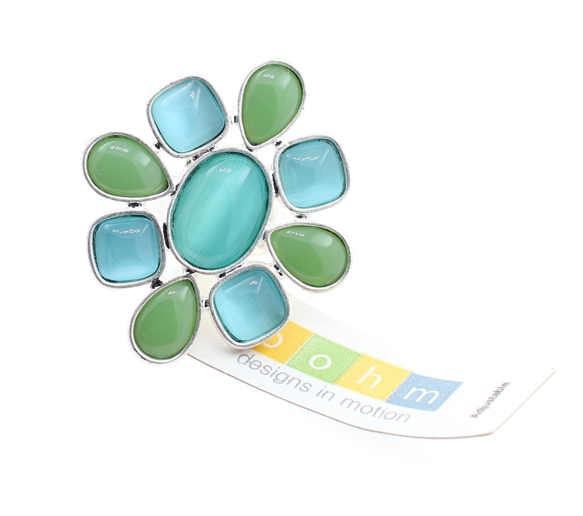 BOHM - Glass Petals Flower Ring - Adjustable Size - Oxidised Silver/Aqua BNWT