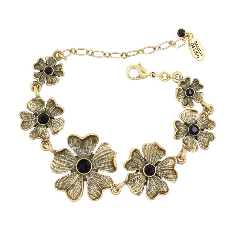 PILGRIM - Autumn's Finest - Flower Bracelet - Gold/Black BNWT