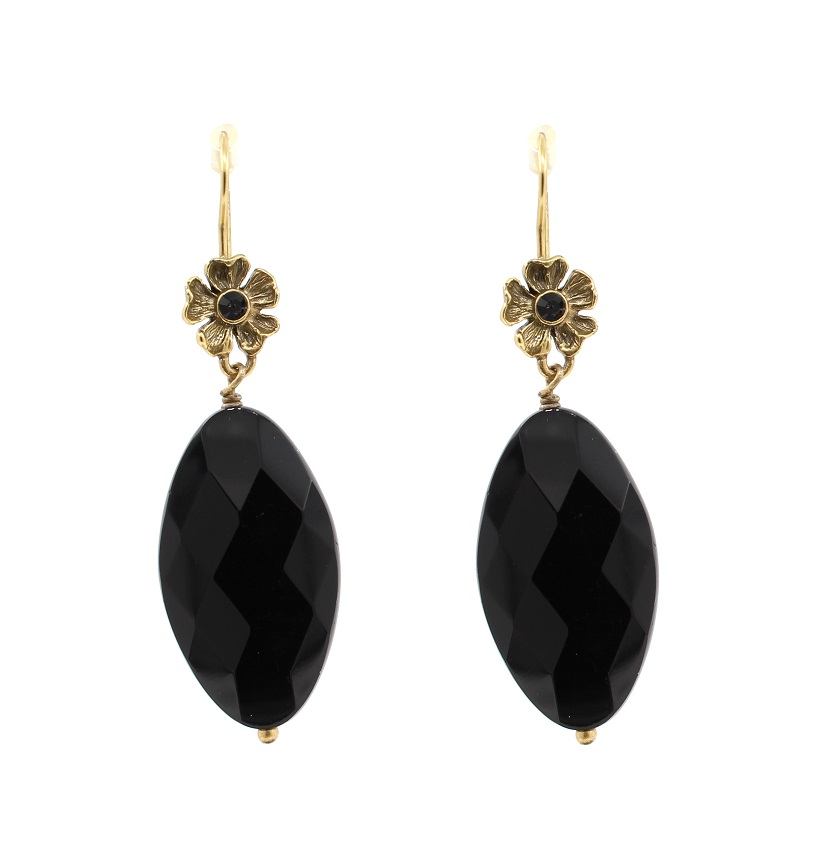 PILGRIM - Autumn's Finest - Crystal Flower Drop Earrings - Gold/Black BNWT
