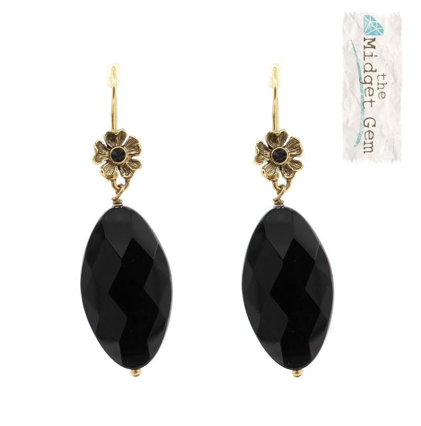 PILGRIM - Autumn's Finest - Crystal Flower Drop Earrings - Gold/Black BNWT