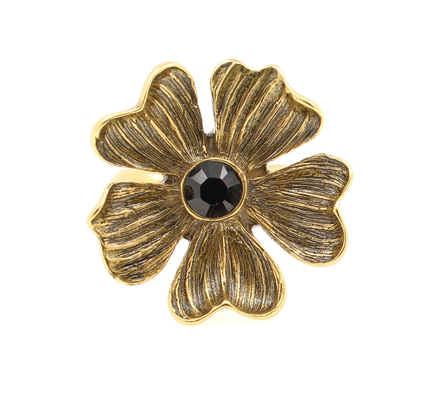 PILGRIM - Autumn's Finest - Adjustable Flower Ring - Gold/Black BNWT
