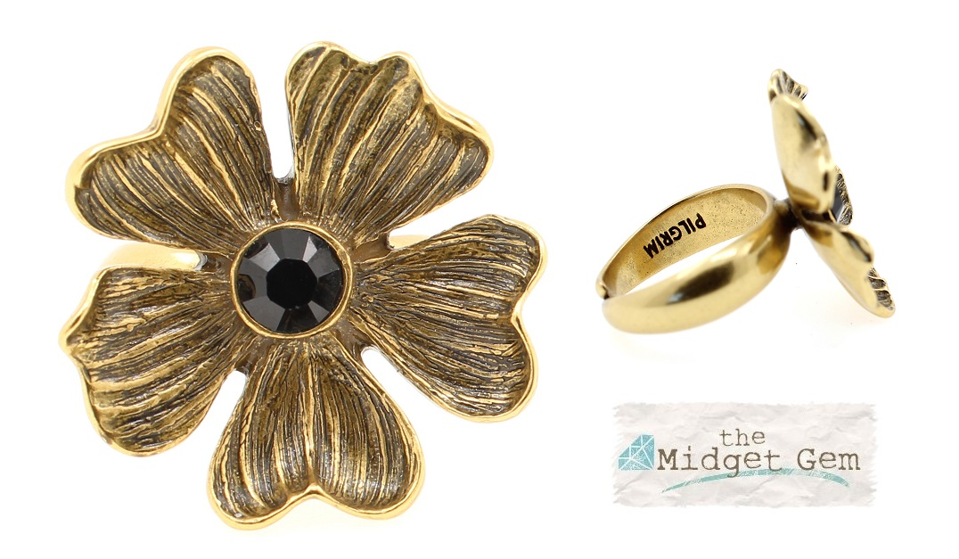 PILGRIM - Autumn's Finest - Adjustable Flower Ring - Gold/Black BNWT