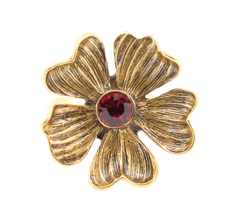 PILGRIM - Autumn's Finest - Adjustable Flower Ring - Gold/Red BNWT