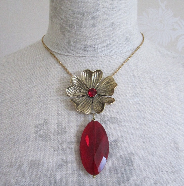 PILGRIM - Autumn's Finest - Flower & Crystal Drop Pendant Necklace - Gold/Red BNWT