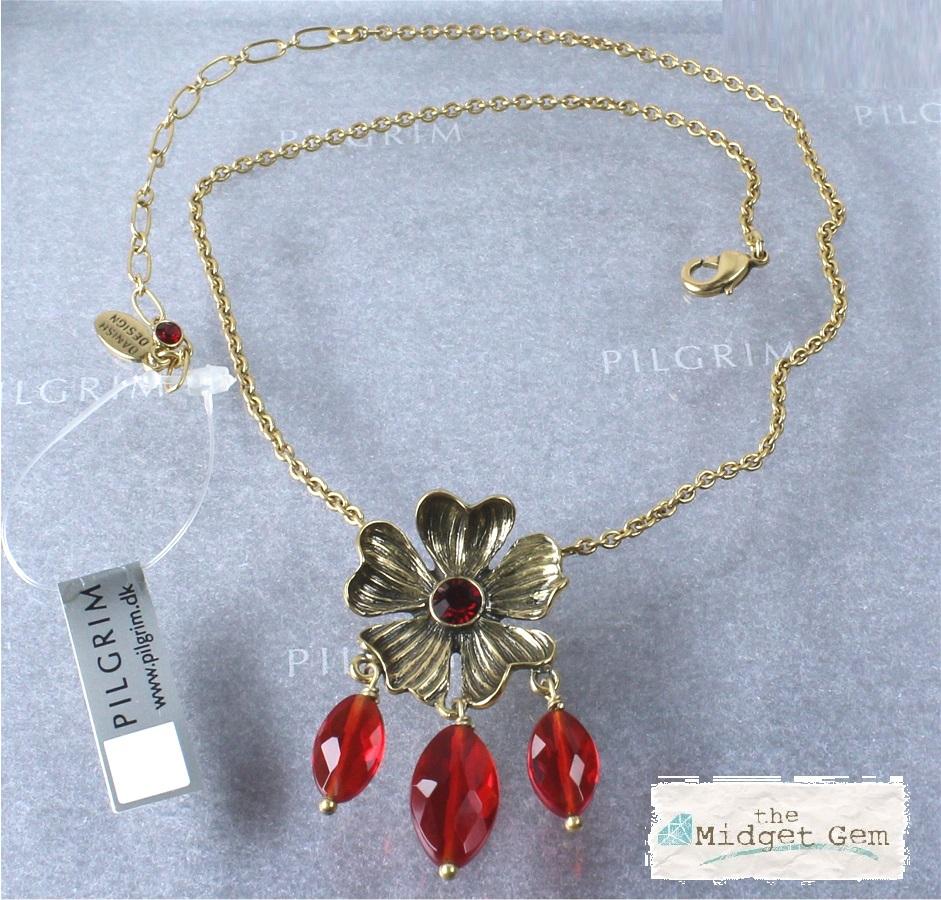 PILGRIM - Autumn's Finest - Flower & Crystal Drop Pendant Necklace - Gold/Red BNWT