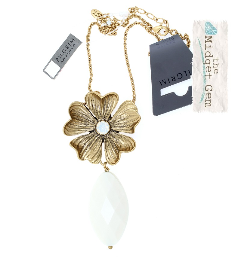PILGRIM - Autumn's Finest - Flower & Crystal Drop Pendant Necklace - Gold/White Opal BNWT