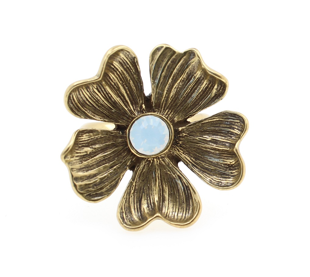 PILGRIM - Autumn's Finest - Adjustable Flower Ring - Gold/White BNWT