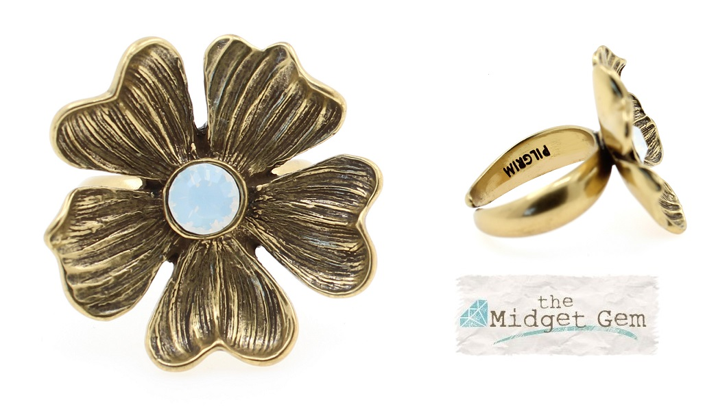 PILGRIM - Autumn's Finest - Adjustable Flower Ring - Gold/White BNWT
