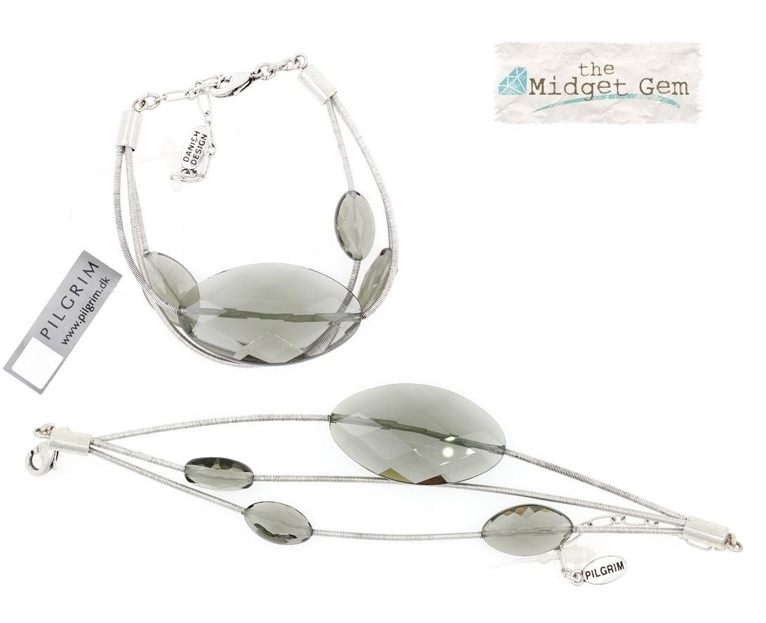 PILGRIM - Autumn's Finest - Crystal Bracelet - Silver/Grey BNWT