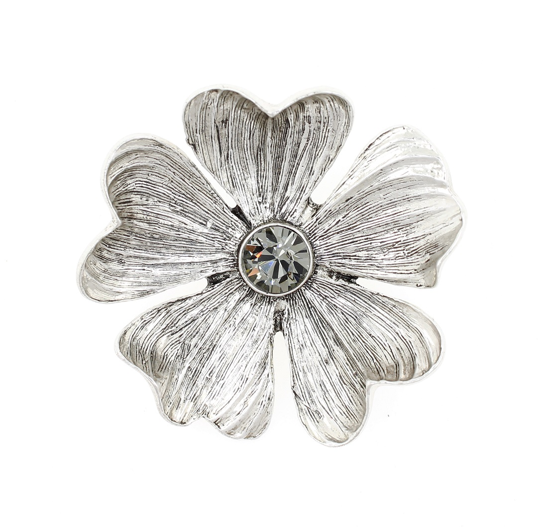 PILGRIM - Autumn's Finest - Flower Brooch - Silver/Grey BNWT