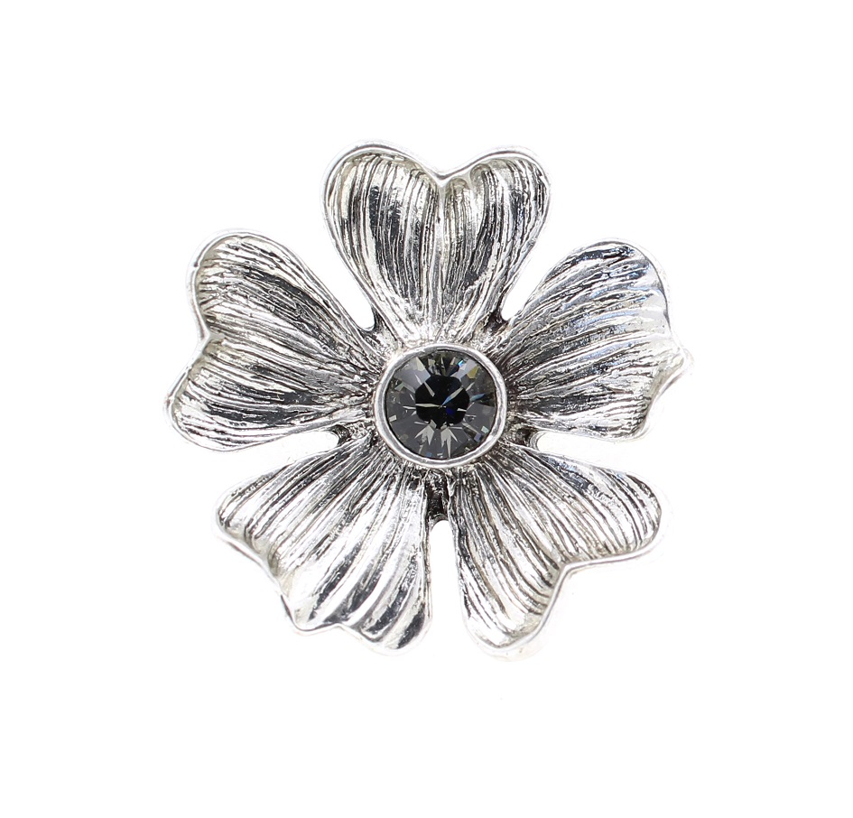 PILGRIM - Autumn's Finest - Adjustable Flower Ring - Silver/Grey BNWT