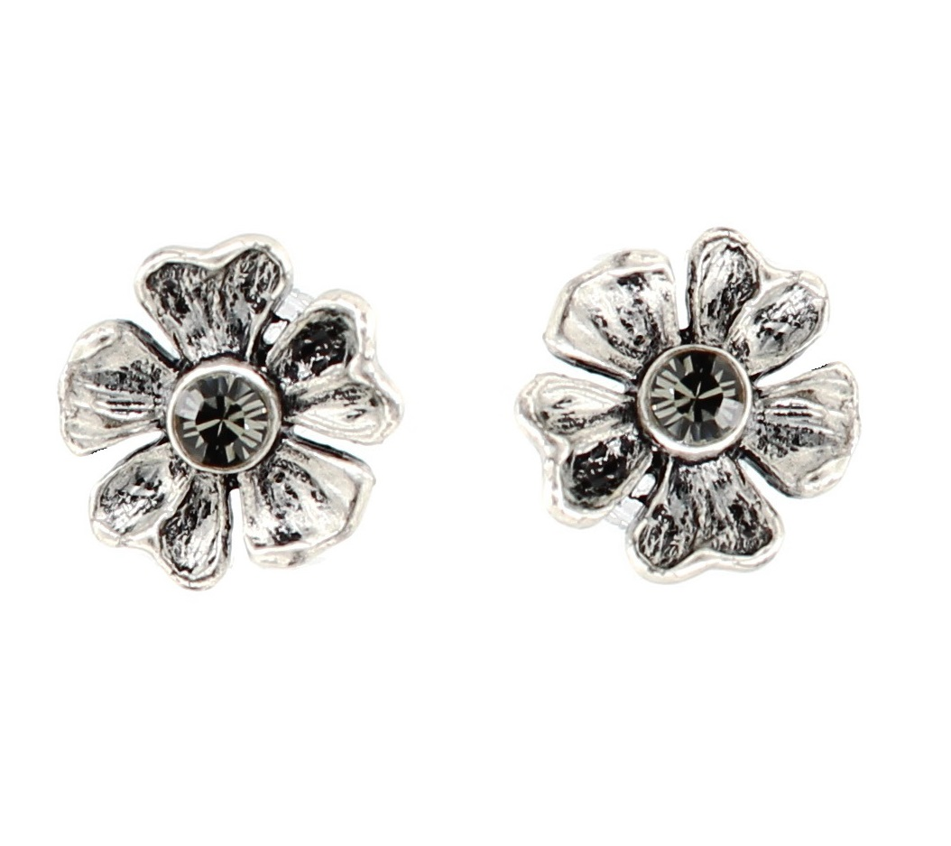 PILGRIM - Autumn's Finest - Crystal Stud Earrings - Silver/Grey BNWT